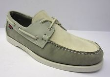 Sebago Docksides B72938/Spinnaker Mens Grey/Off White/Blue Nubuck Boat/Deck shoe