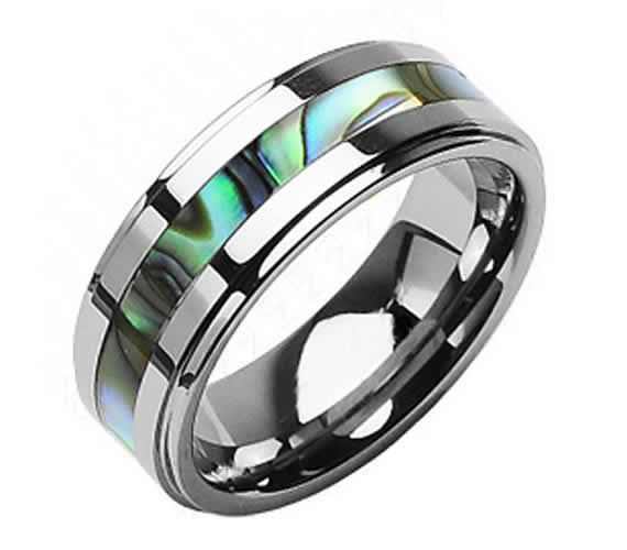 Tungsten And Abalone Stripe Inlaid Personalized Wedding Band Ring
