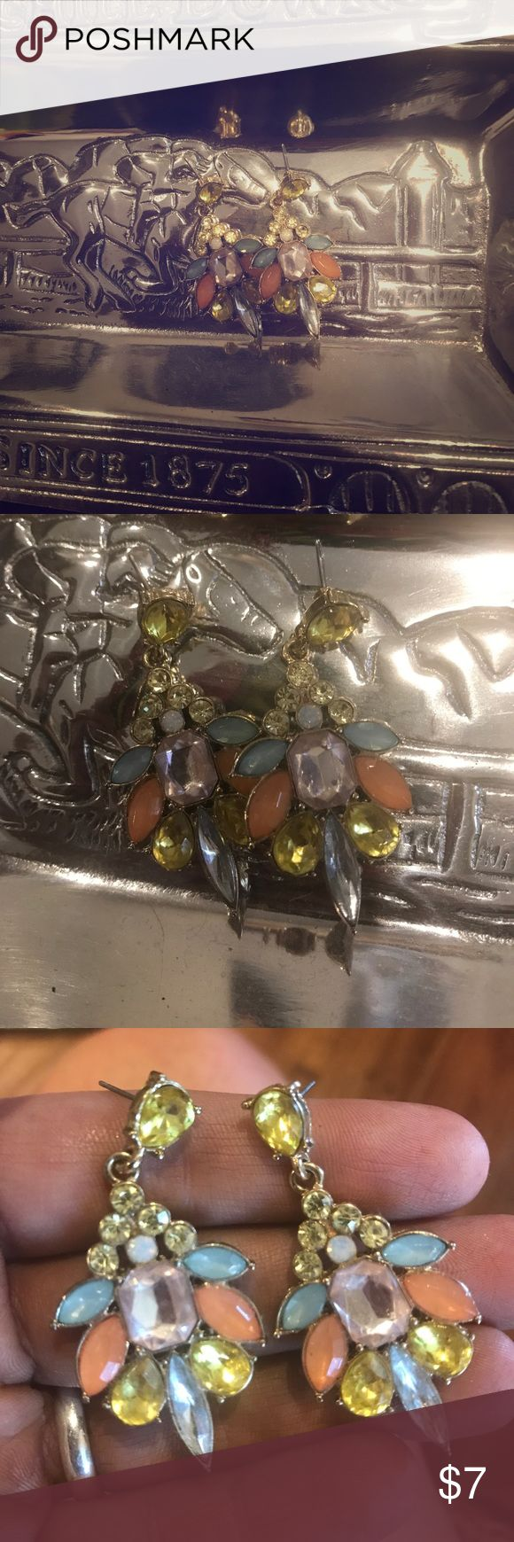 ✨💎Statement Earrings💎✨ Pretty earrings. Lavender, yellow, peach and sky blue colored stones. Gold details. EUC- an easy way to sees up any outfit! 🛒SHOP MY CLOSET🛍 Make me an offer🎉 or bundle to save💰 I love getting offers! 💸 I can't say yes if you don't ask 😉 Jewelry Earrings