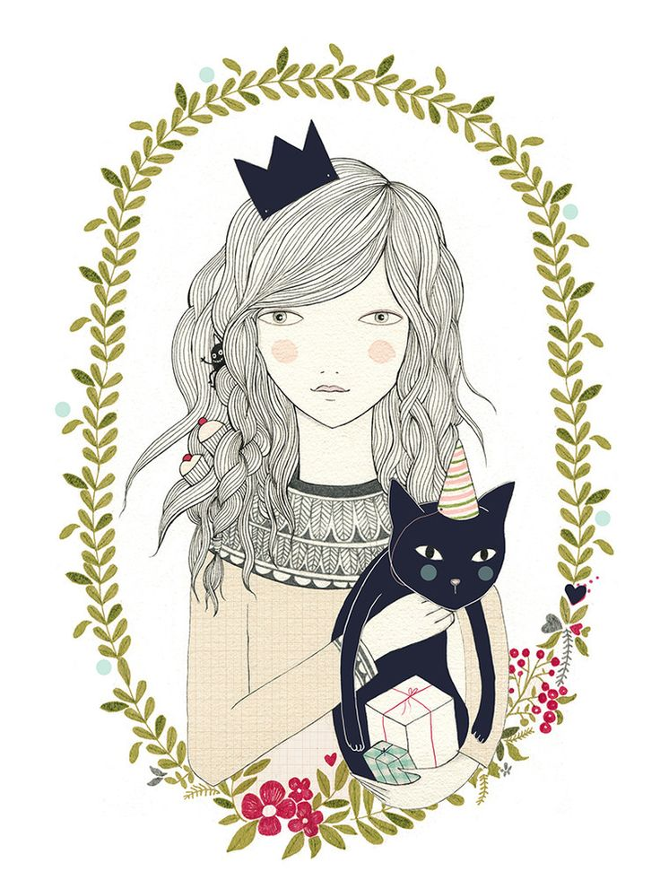 Image of Print gato Illustrationy by Lady Desidia lovely little princess drawing with a cat