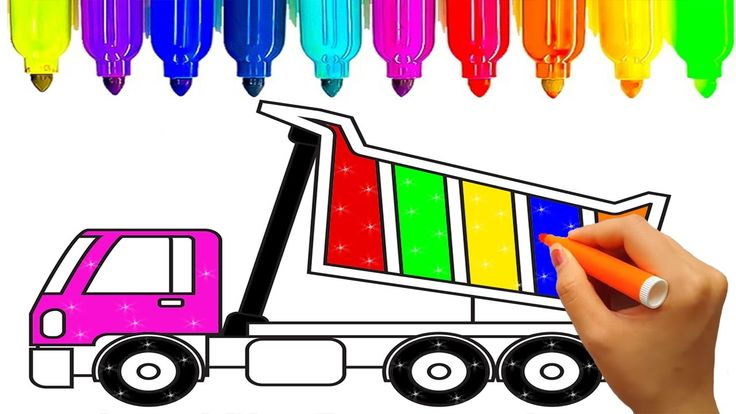 Dump truck coloring pages for kids to learn colors | Construction truck ...