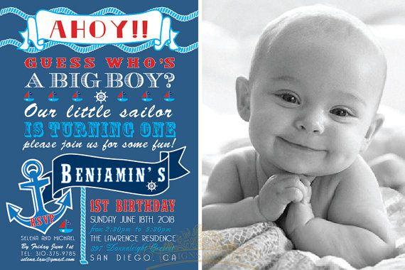 Nautical Birthday Invitation Baby Boy Birthday by luetdesigns
