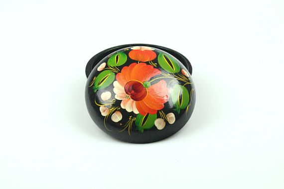 Vintage Floral Jewelry Box Round Wood Hand painted