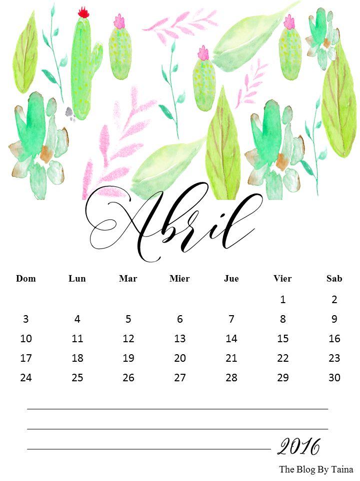calendario abril 2016 para imprimir |  THEBBT