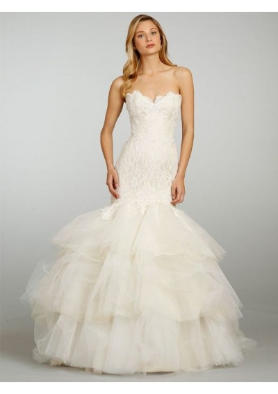 lace sweetheart neckline mermaid style with ruffle fluffy