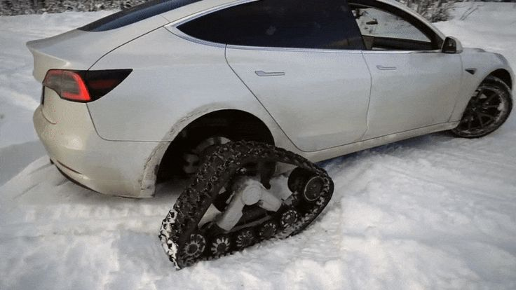 Yep, Someone Fitted A Tesla Model 3 With Snow Tracks ...