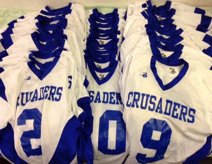 Youth Football Jerseys Lot Of 38 Size Youth Xtra Small Crusaders Football Badger #BadgerSports