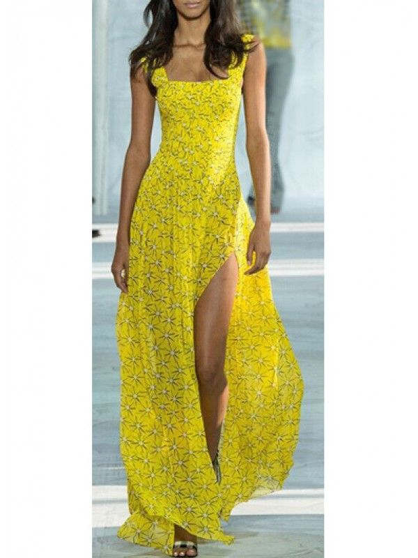 Modern dresses: Yellow Chiffon Printed Strappy Maxi Dress