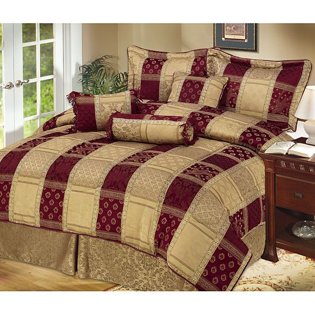 <li>Add a splash of elegant color to your home decor with this Hampton bedding ensemble<li>Hampton bedding features rich colors of burgundy and gold<li>Bedding set includes a comforter, two shams, bedskirt, square pillow, breakfast pillow and neckroll