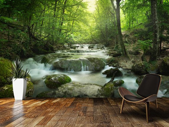 Enchanting Forest waterfall wall mural in-room view