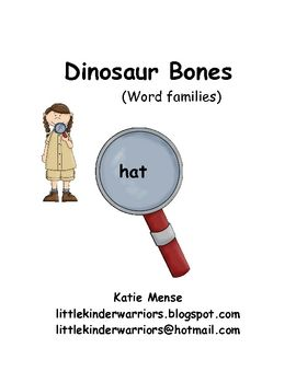 Love this game!!  The students must use a magnifying glass to find words written (in small font) on the bones.  Then they write the word on the recording sheet under the correct family.Literacy Center