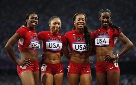 Francena McCorory, Allyson Felix, Sanya Richards-Ross and DeeDee Trotter of the U.S.