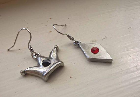 Harley Quinn earrings ...comics jewelry