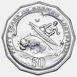 2013 50-cent coin from Australia celebrating the long history of surfing in that country.