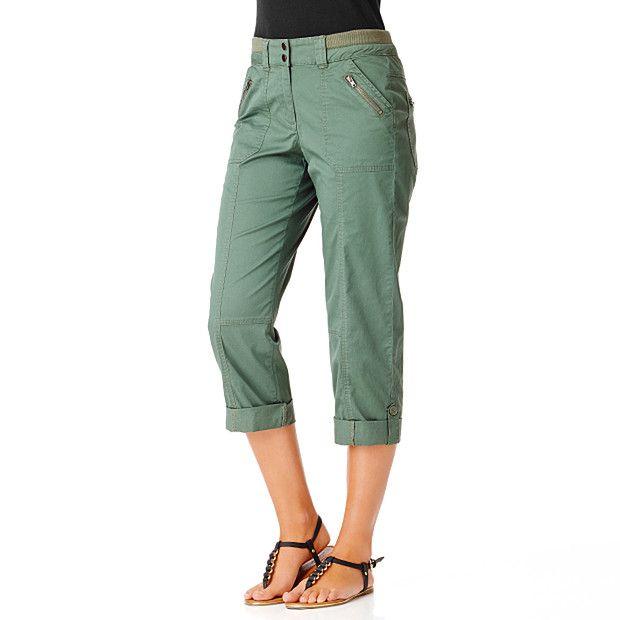 Ladies' Rib Waist Crop Pants - Duck Green (16)