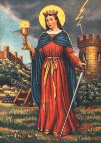 «Santa Bárbara, virgen bendita, grandiosa de inmenso poder, Dios te acompañe, y tú a mí por el camino del bien. ...