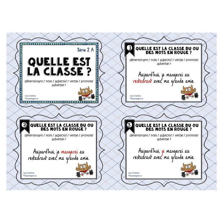 Ces cartes à tâches, en français, sont conçues pour aider les élèves à bien reconnaître chacune des huit classes de mots dans le but de les aider en écriture lors de la correction de leurs textes.  Série 1 : déterminant/nom/adjectif/verbe/pronom Série 2 :déterminant/nom/adjectif/verbe/prono