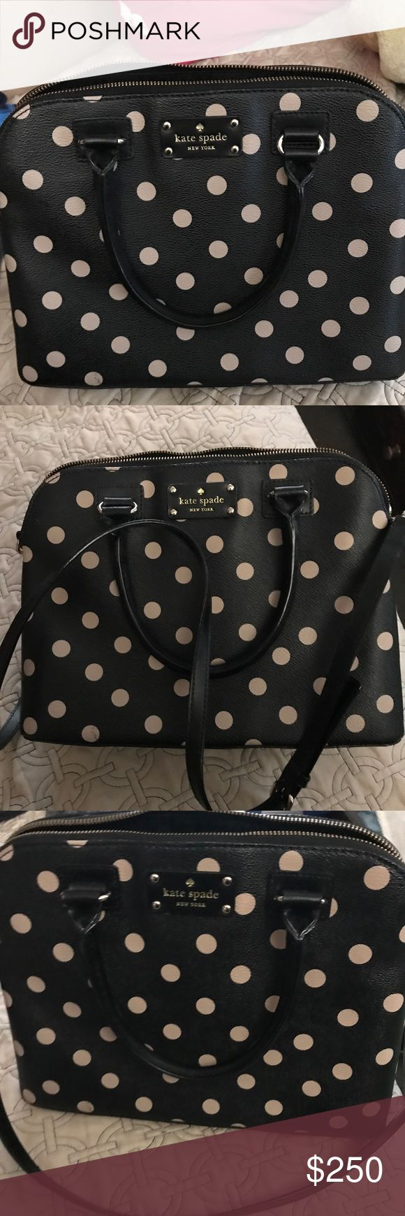 Kate Spade Polka Dot Purse Hardly used. Very spacious. Has long strap which can be adjusted. No rips or stains. Looks great with any outfit. Great for a present or for yourself. kate spade Bags Shoulder Bags