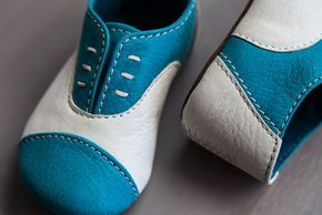 Teal and White Oxford Baby Shoes