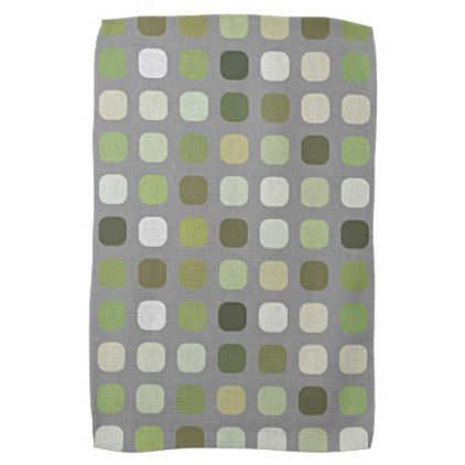 Sage Olive Green Retro Chic Round Squares Pattern Hand Towel - diy cyo customize create your own #personalize