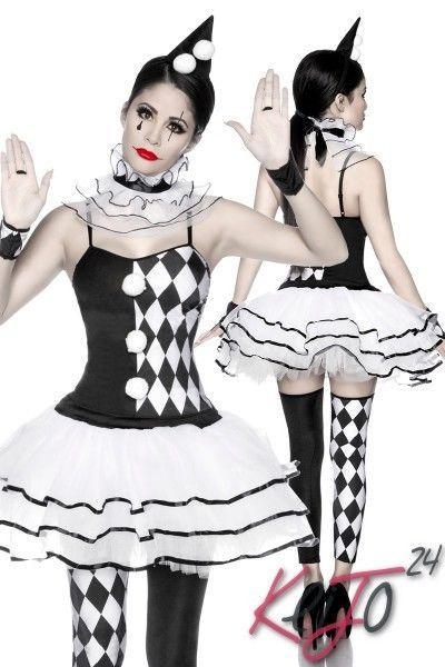 Damen Fasching Harlekin Clown Kostüm 8-teilig Schwarz Weiß Größe Gr. OS 34 36 38 in Kleidung & Accessoires, Kostüme & Verkleidungen, Kostüme | eBay