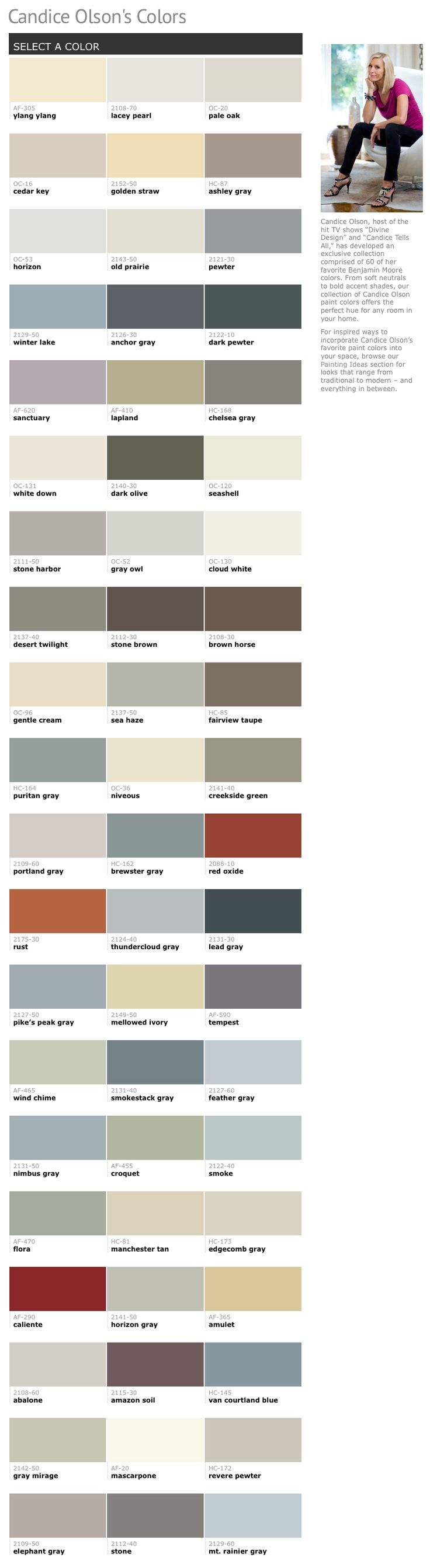 60 of Candice Olson's favorite Benjamin Moore paint colors