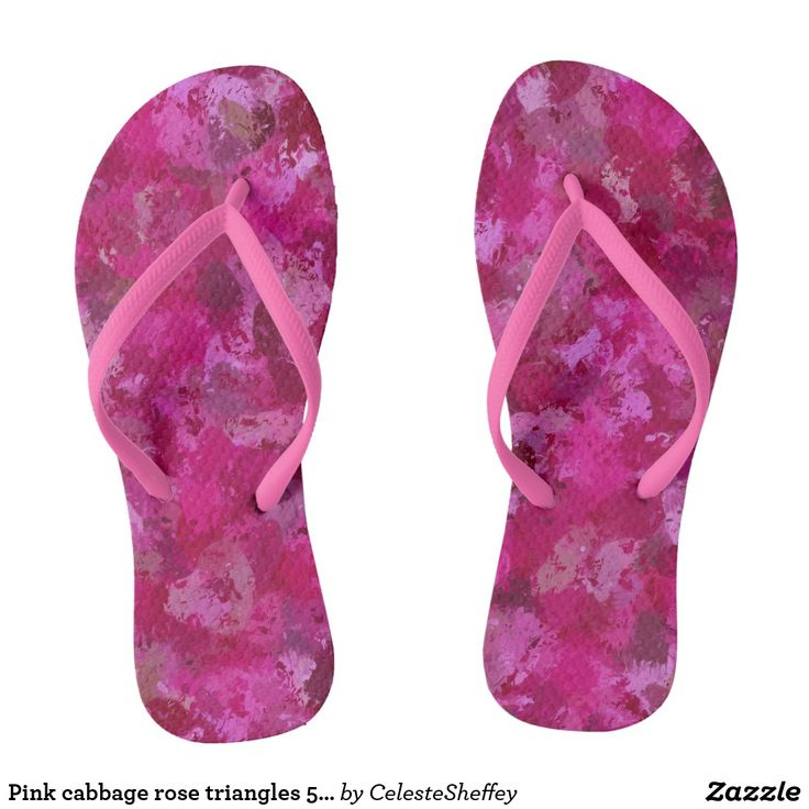 Pink cabbage rose triangles 5080 flip flops