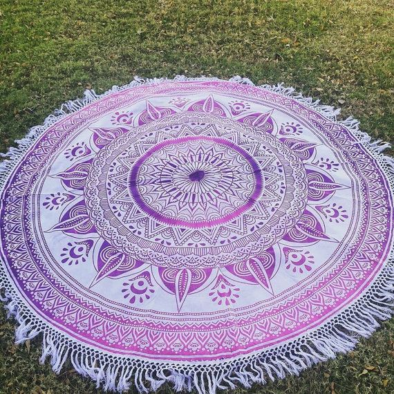The must have for each beach lover boho girl are the super trendy round mandala beach blankets this summer . The soft round shape cotton blankets make