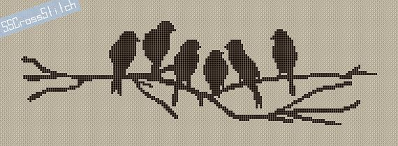 Counted Cross Stitch Pattern PDF Silhouette Birds by SimpleSmart, $4.00
