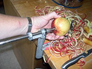 Try this apple slicer. Makes peeling,coring and slicing an apple a snap.