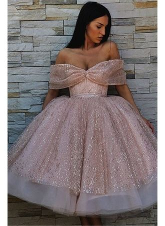 cd720f2109e Off-The-Shoulder Sequins Short Chic Puffy Pink Short-Sleeves Prom  Dresses Prom Dresses Special