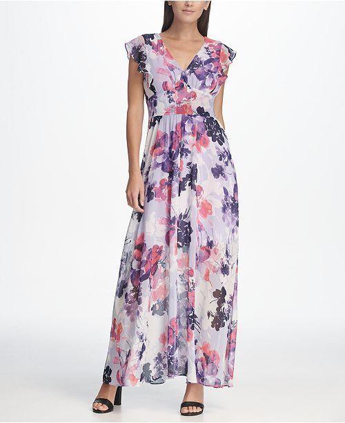 63c15fb912b DKNY Floral Chiffon Ruffle Cap Sleeve Maxi Dress | Women's Dresses ...