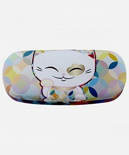 """Etui à lunettes rigide chat porte bonheur Mani the Lucky Cat multicolore: Au Japon, """"Maneki neko"""" est réputé porter chance, bonheur et…"""