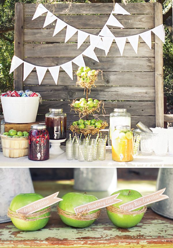 Rustic & Homemade Apple of My Eye Baby Shower with a cute use of twine. http://www.nashvillewraps.com/ShowSearch.ww?Query=jute+twine