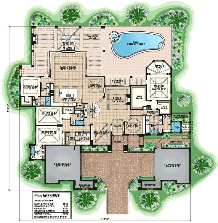 Mediterranean Luxury Floor Plans: 17 Best Ideas About Mediterranean House Plans On Pinterest