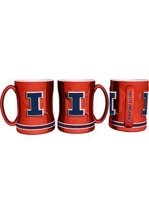 Illinois Fighting Illini 15oz Orange Sculpted Mug Mug