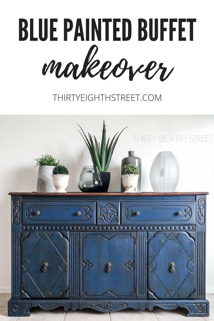 Furniture painting ideas techniques - Blue Painted Buffet Blue Furniturepainting Furniturefurniture Ideasfurniture Painting Techniquesrustic