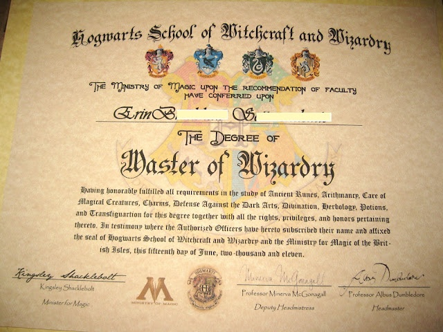 Homemade personalized Hogwarts School of Witchcraft and Wizardry diploma. Harry Potter.