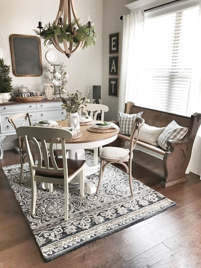 Patterened rug for dining area adds interest