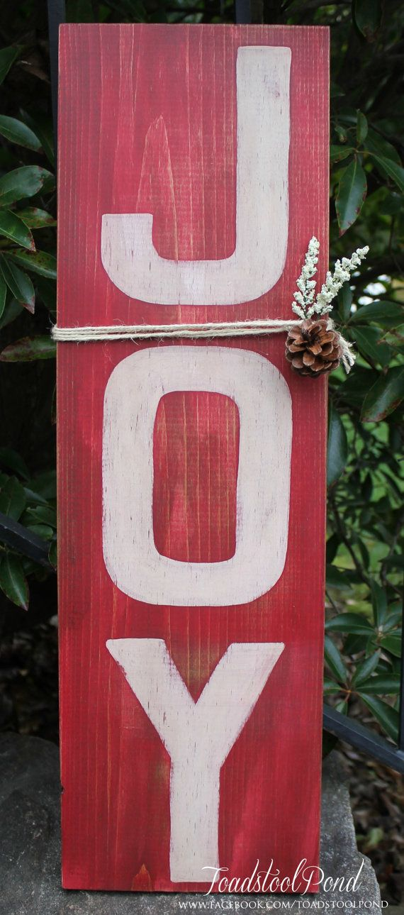 Handpainted JOY Rustic Christmas Wooden Sign by ToadstoolPond