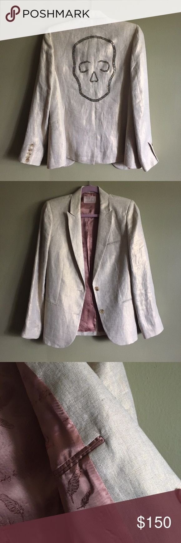 ZADIG & VOLTAIRE Linen Blazer Men's-like tailor jacket with Italian collar, 100% linen with gold tread. Skull diamond stone detail on back. Has just one, barely visible stone missing. Only worn once. Zadig & Voltaire Jackets & Coats Blazers