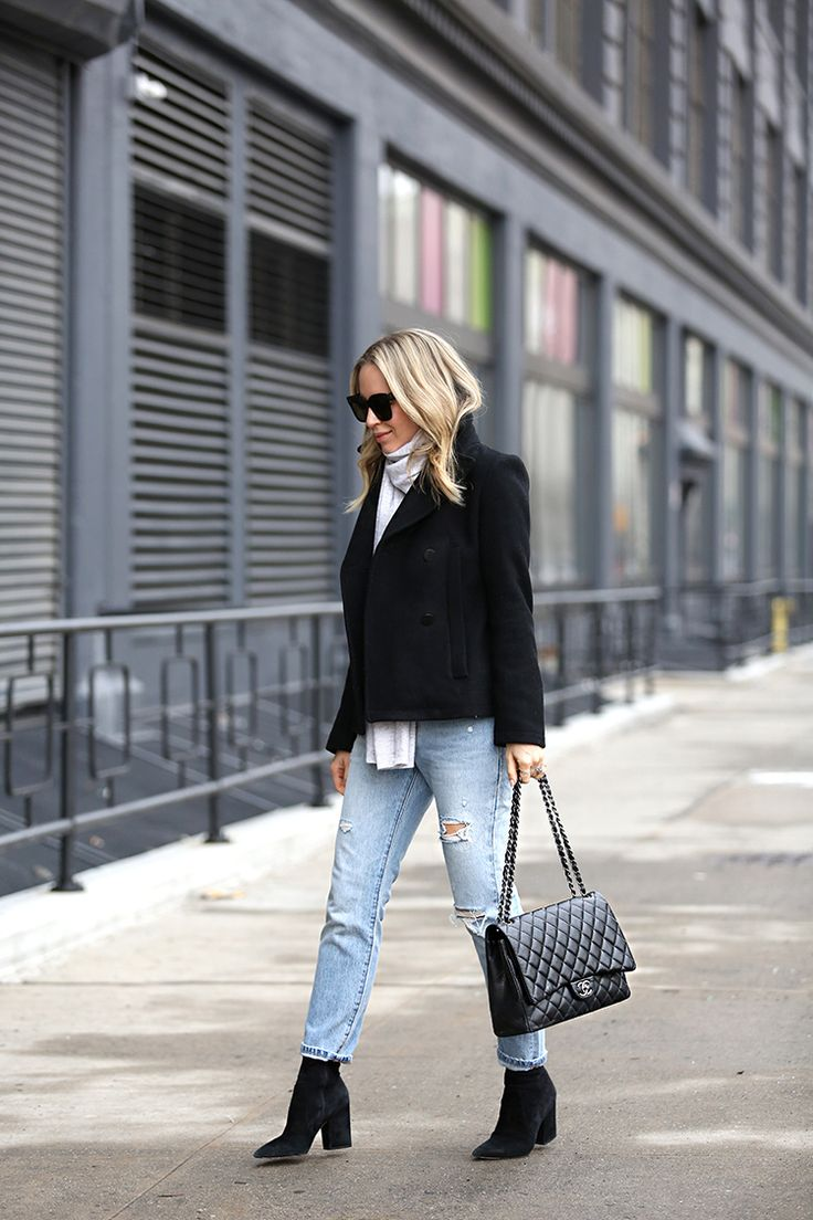 Winter Outfit Ideas, Peacoat, Boyfriend Jeans, Chanel Maxi bag, Helena of Brooklyn Blonde