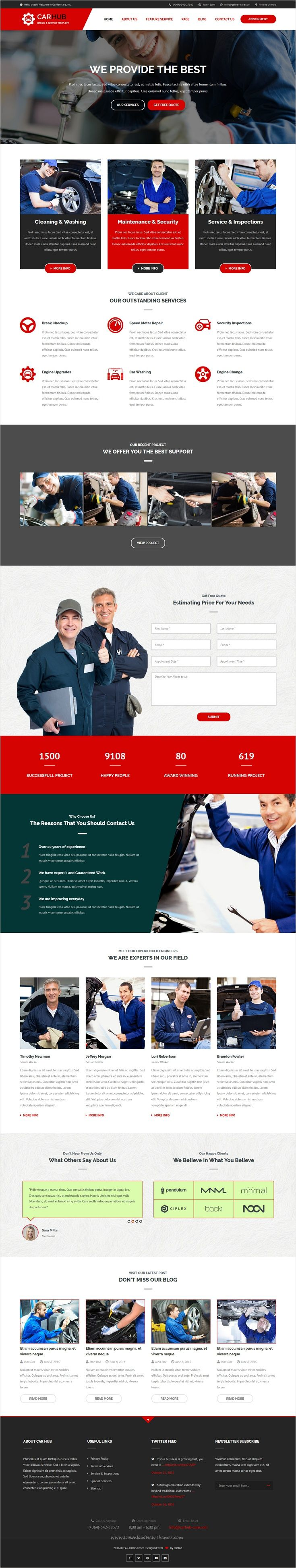 Car hub is a wonderful 3 in 1 bootstrap template for car repair