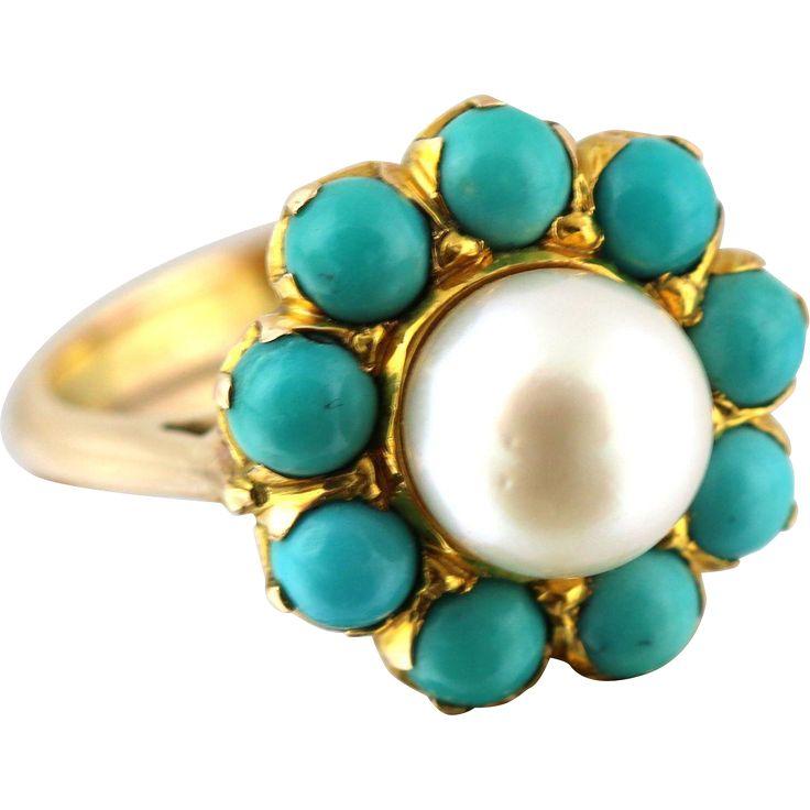#VintageBeginsHere at www.rubylane.com @rubylanecom -- Stunning 15ct Gold Cultured Pearl & Turquoise Howlite Ring