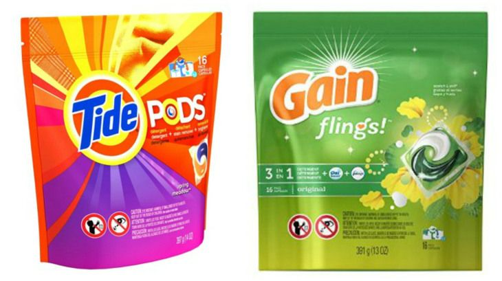 Buy (8) Tide Pods 14 ct $3.94 Total $31.52 Use (4) $2/1 Tide Pods, Gain Flings, Downy Unstopables, Bounce Bursts, or Gain Fireworks; Excludes Tide Pods 5 ct, Gain Flings 5 ct, Trial and Travel Size, Limit of 4 Like Coupons Per Household Per Day – 11-16-14 RP Use (4)  $2/1 Tide Pods in the 12/14 insert Pay $15.52 Submit for $10 SavingsStar rebate, Final Price $5.52 Or $0.69¢ each wyb (8)