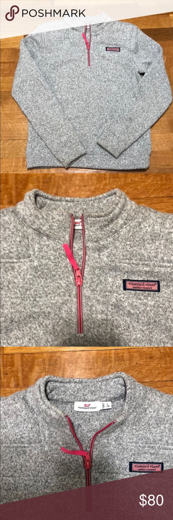 Vineyard vines girls sweater EUC barely worn - grey with pink 1/4 zipper. Vineyard Vines Shirts & Tops Sweatshirts & Hoodies