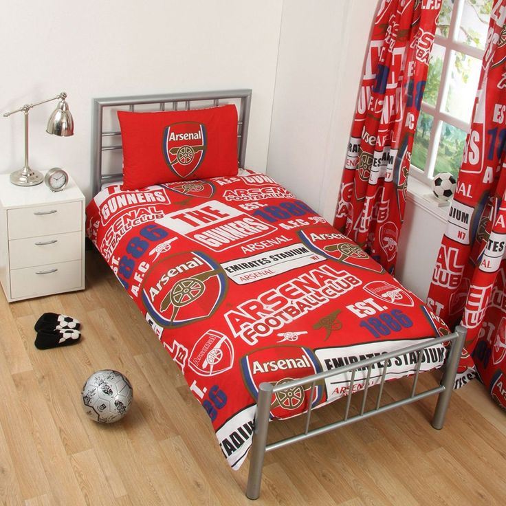 Arsenal FC Patch Single Duvet Cover and Pillowcase Set: Amazon.co.uk: Kitchen & Home