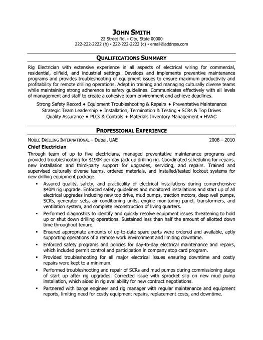 Click Here to Download this Chief Electrician Resume Template! http://www.resumetemplates101.com/Trades%20-resume-templates/Template-349/