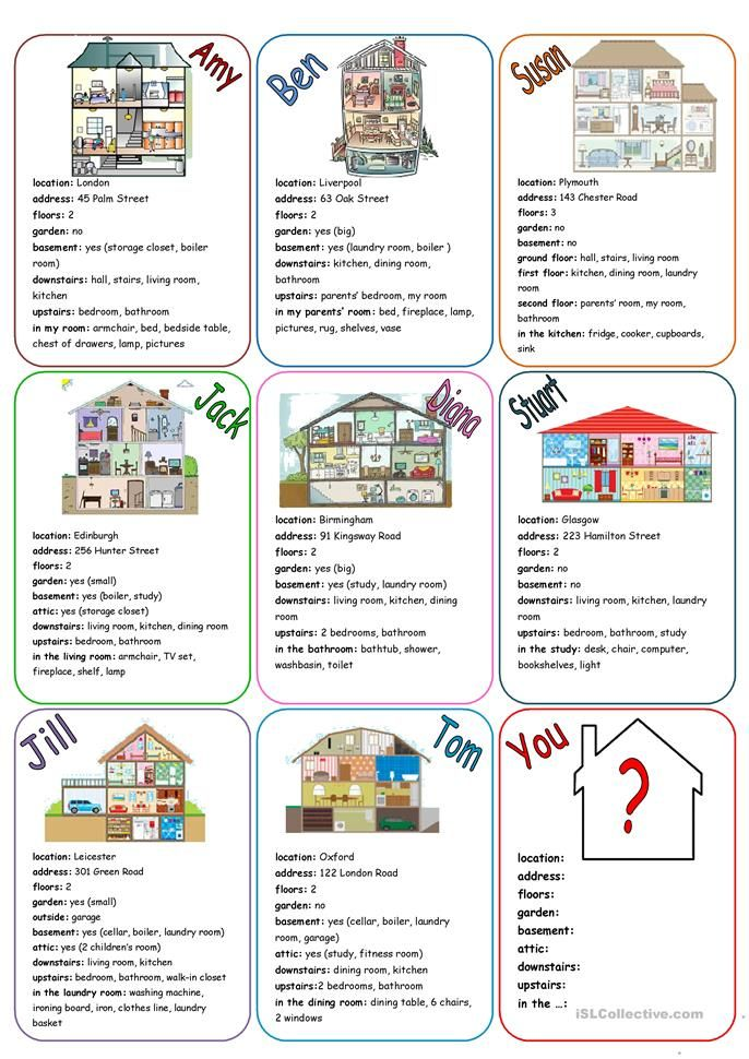 Our House Speaking Cards English Esl Worksheets For Distance Learning And Physical Classrooms In 2020 Learning Italian Teaching English English Lessons
