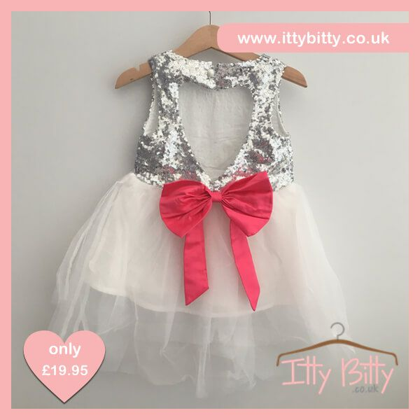❤️❤️SALE ❤️❤️ JUST ADDED| £14.95   Shop here👉🏻https://www.ittybitty.co.uk/product/itty-bitty-silver-sparkle-bow-dress/?utm_content=buffer4a45c&utm_medium=social&utm_source=pinterest.com&utm_campaign=buffer  🅿️ PayPal or 💳 Credit/Debit card 🔐Secure website #sale #dress #girls